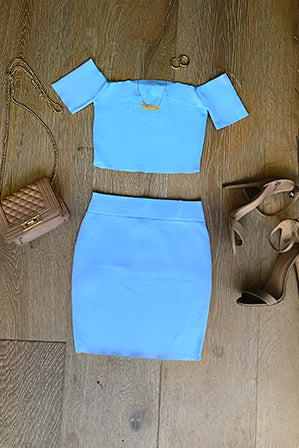 Off Shoulder Crop Top & Mini Skirt Set