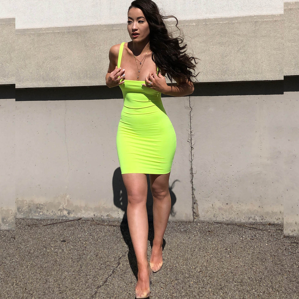 Neon Yellow Mini Dress