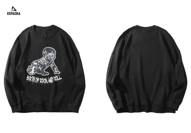 Birth Of Rock And Roll Pullover Streetwear Black / Xl