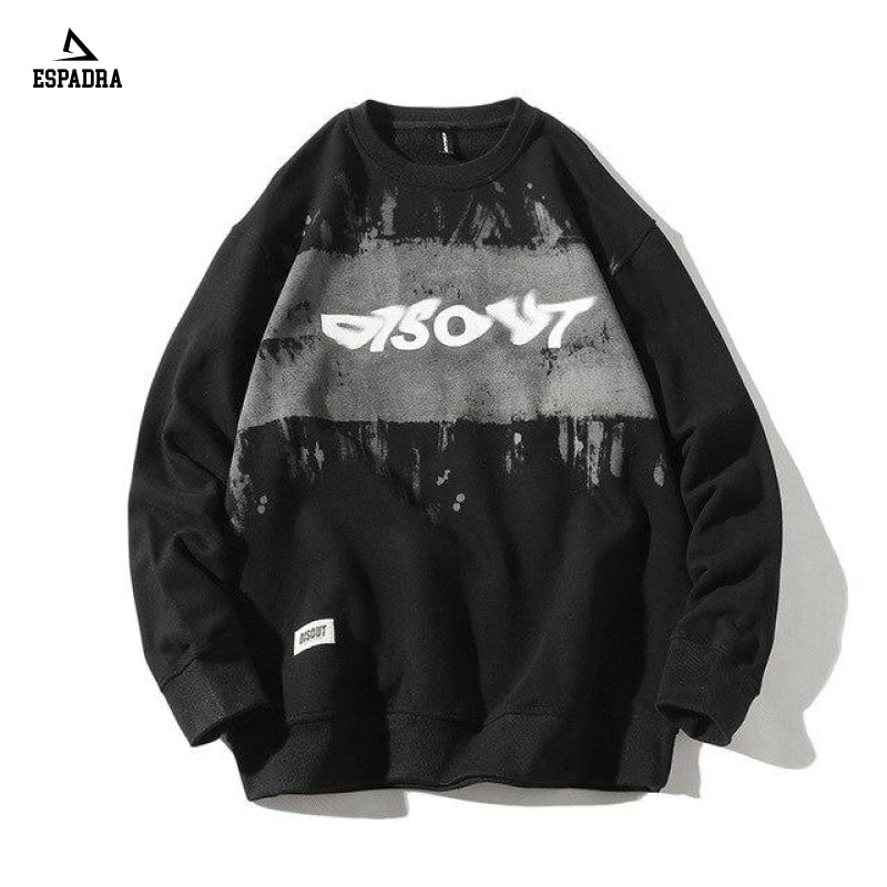 Fashion Streetwear Printing Mens Sweatshirt Black / S