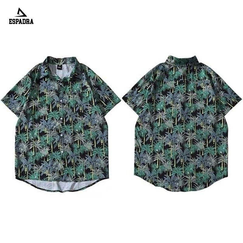 Hawaiian Leaf Print Shirt Streetwear Green / M