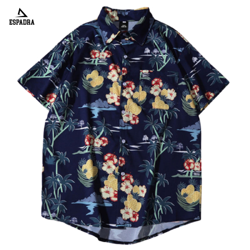 Hawaiian Pineapple Floral Beach Shirt