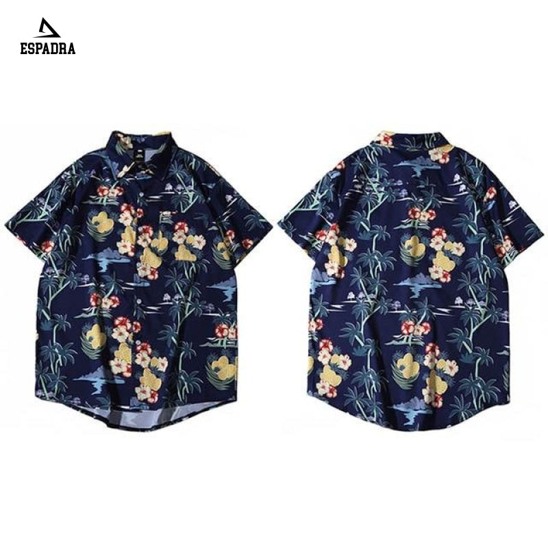 Hawaiian Pineapple Floral Beach Shirt Blue / M