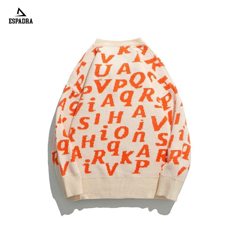 Letter Print Pullover Retro Mens Sweater