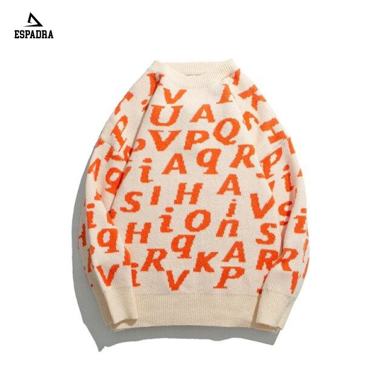 Letter Print Pullover Retro Mens Sweater Orange / M