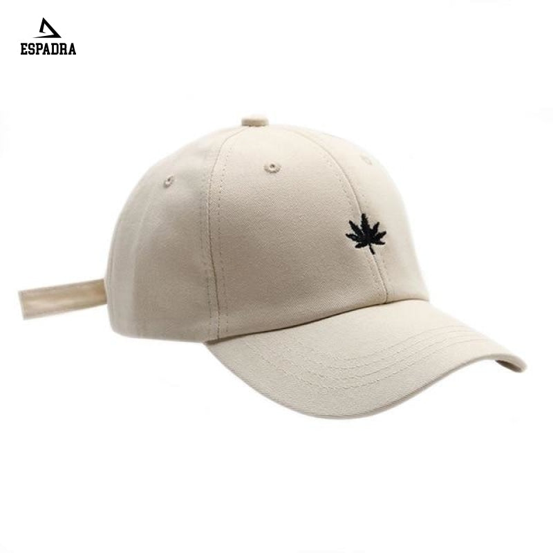 Maple Leaf Embroidery Baseball Cap Beige / One Size