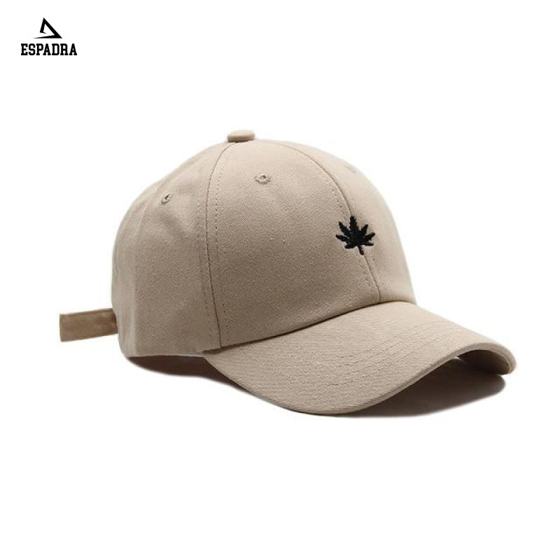 Maple Leaf Embroidery Baseball Cap Khaki / One Size