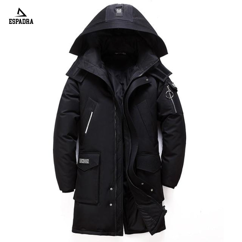New Thick Warm Mid-Lenght Fashion Jacket Black / M