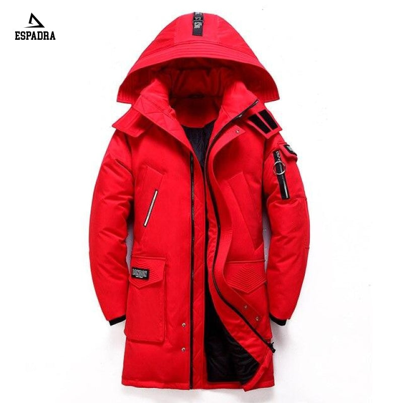 New Thick Warm Mid-Lenght Fashion Jacket Red / M
