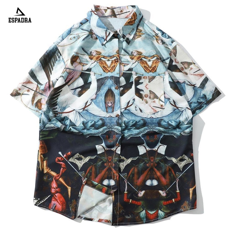 Oil Painting 3D Print Fashion Short Sleeve Shirt