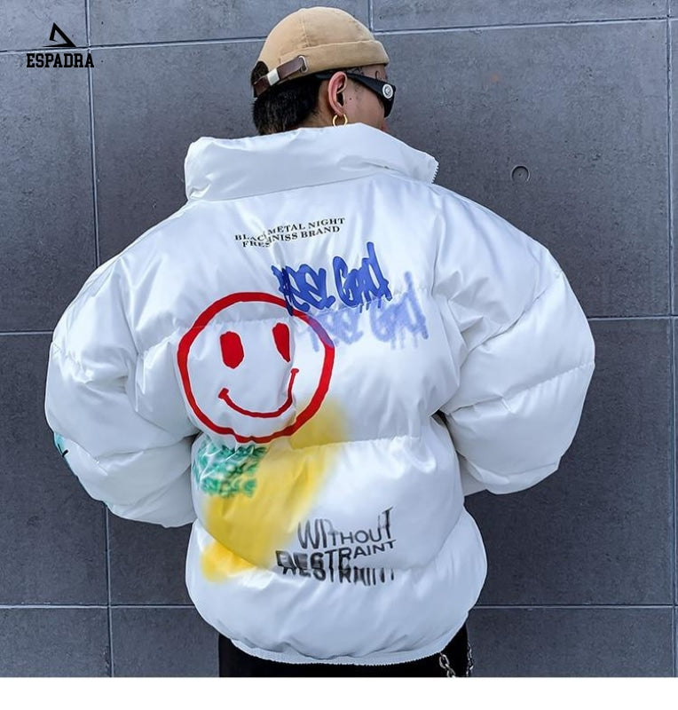 Parka Smile Face Print Jacket White / Xxl