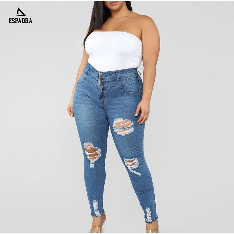 Plus Size Button Up Light Blue Hole Ripped Skinny Long Jeans