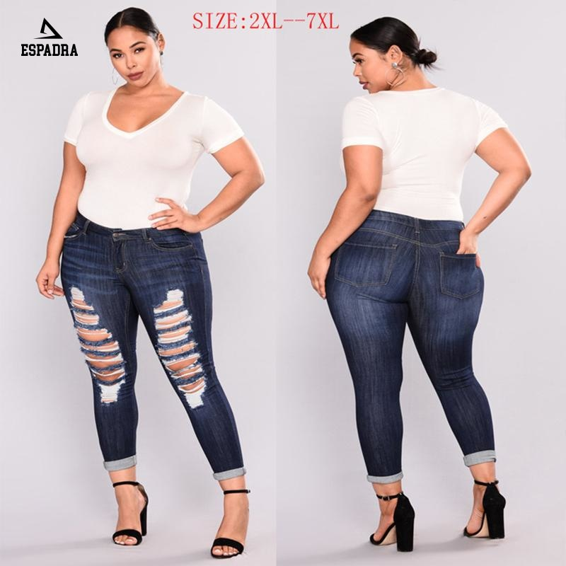Plus Size Casual Ripped Hole Stretch Elastic Jeans