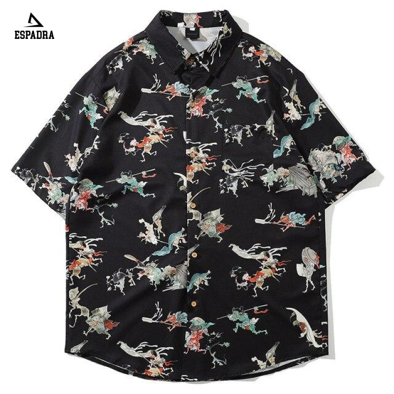 Retro Chinese Style Shirt Black / M
