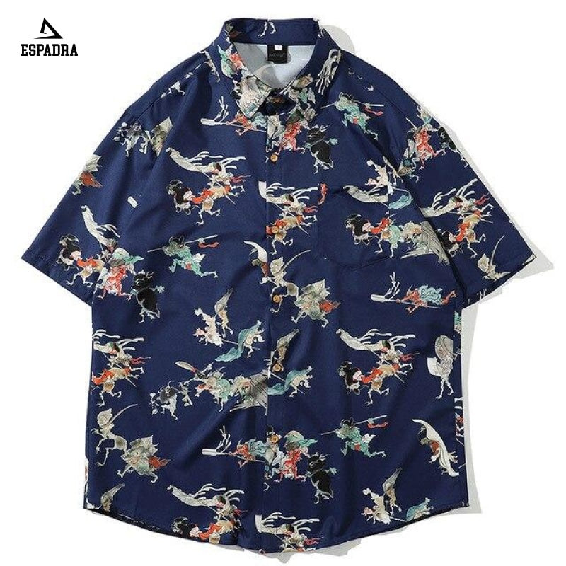 Retro Chinese Style Shirt Blue / M