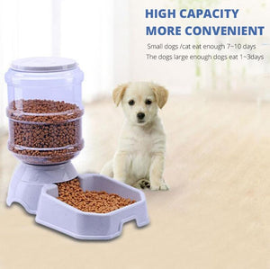Animals & Pet Supplies > Pet Supplies > Pet Bowls, Feeders & Waterers - Pet Automatic Feeder Dog Cat Drinking Water Feeding Bowl Large Capacity Dispenser Pet Cat Dog 3.8L