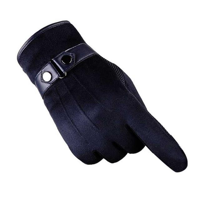 Apparel & Accessories > Clothing Accessories > Gloves & Mittens - Winter Gloves Faux Suede Leather Full Finger Anti Slip Warm Tactical Gloves