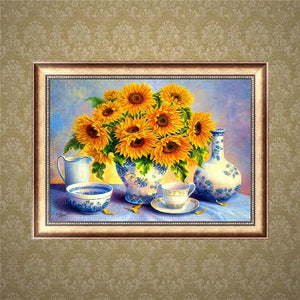 Arts & Entertainment > Hobbies & Creative Arts > Arts & Crafts > Art & Craft Kits - 5D DIY Diamond Painting Embroidery Sunflower