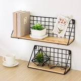 Furniture > Shelving > Wall Shelves & Ledges - Wooden Iron Wall Shelf Wall Mounted Storage Rack Organization For Bedroom Kitchen Home Decor Kid Room DIY Wall Decoration Holder