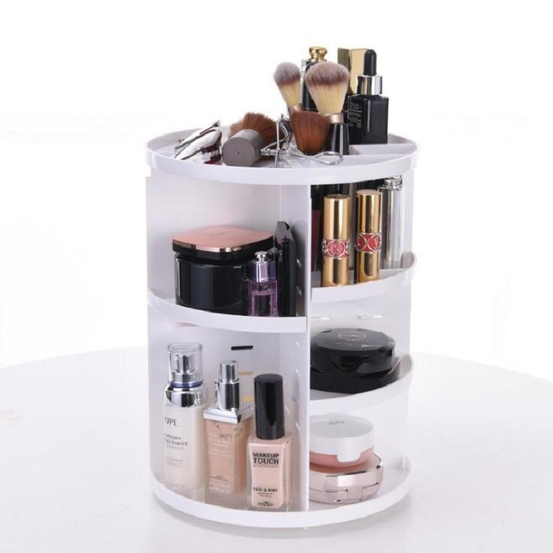Health & Beauty > Personal Care > Cosmetics > Cosmetic Tools - 360-degree Rotating Makeup Organizer Box Brush Holder Jewelry Organizer Case Makeup Cosmetic Storage Box