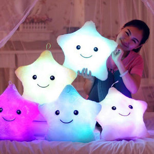 Home & Garden > Linens & Bedding > Bedding > Pillows - Kids Luminous Star Cushion Pillow Plush Doll Led Light Colorful Glowing Toys