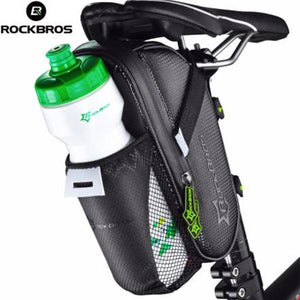 Sporting Goods > Outdoor Recreation > Cycling > Bicycle Accessories > Bicycle Bags & Panniers - ROCKBROS Bicycle Saddle Bag With Waterproof Water Bottle Pocket For Mountain Bike Rear Bags