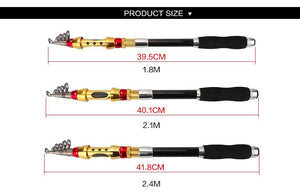 Sporting Goods > Outdoor Recreation > Fishing > Fishing Rods - Jackfish Telescopic Portable Fishing Pole Spinning Fishing Carbon Rod