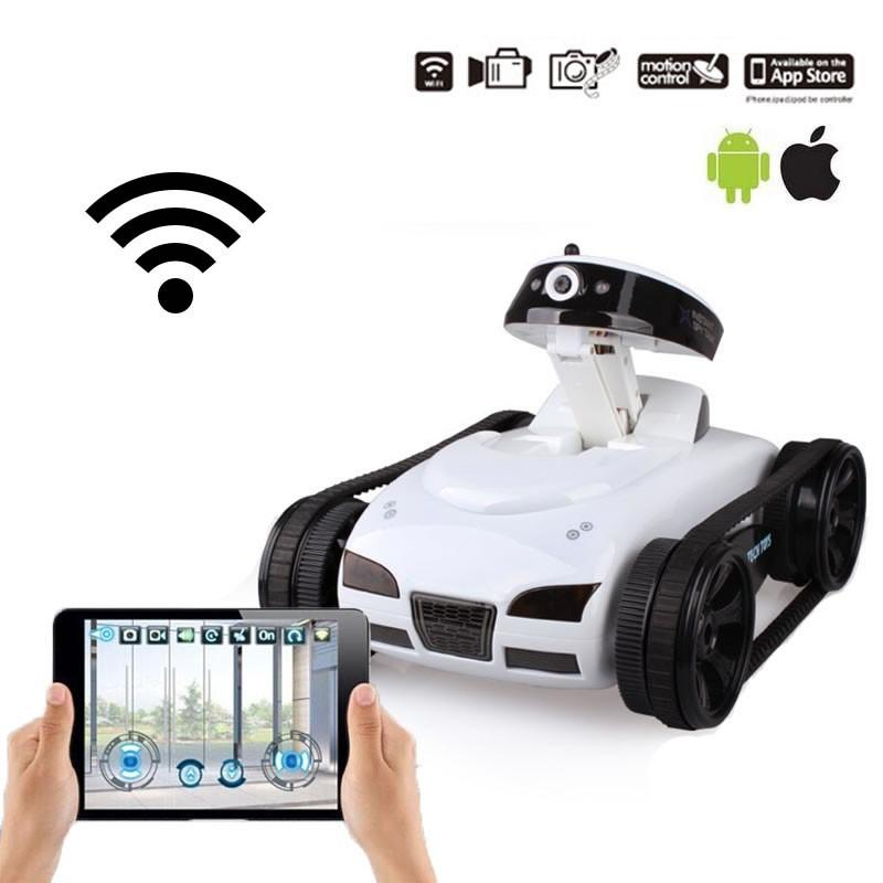 Toys & Games > Toys > Remote Control Toys > Remote Control Tanks - Mini Wifi Remote Control Tank With Camera Support IOS Android Phone White/Black