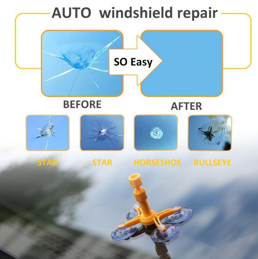 Vehicles & Parts > Vehicle Parts & Accessories > Vehicle Maintenance, Care & Decor > Vehicle Repair & Specialty Tools > Windshield Repair Kits - DIY Glass Cracked Windshield Mobile Screen Repair Kit