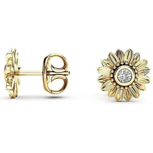 """You Are My Sunshine"" Sunflower Crystal Stud Earrings"