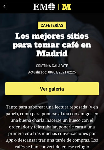 El Mundo newspaper article best coffee shops in Madrid, Spain
