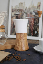 Load image into Gallery viewer, Ceramic Coffee Mill Olive Wood Hand Grinder