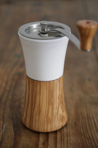 Ceramic Coffee Mill Olive Wood Hand Grinder