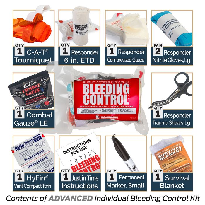 PUBLIC ACCESS INDIVIDUAL BLEEDING CONTROL KIT - VACUUM SEALED