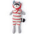 Hazel Village Organic Max Raccoon in Cozy Lodge Romper and Red Bonnet