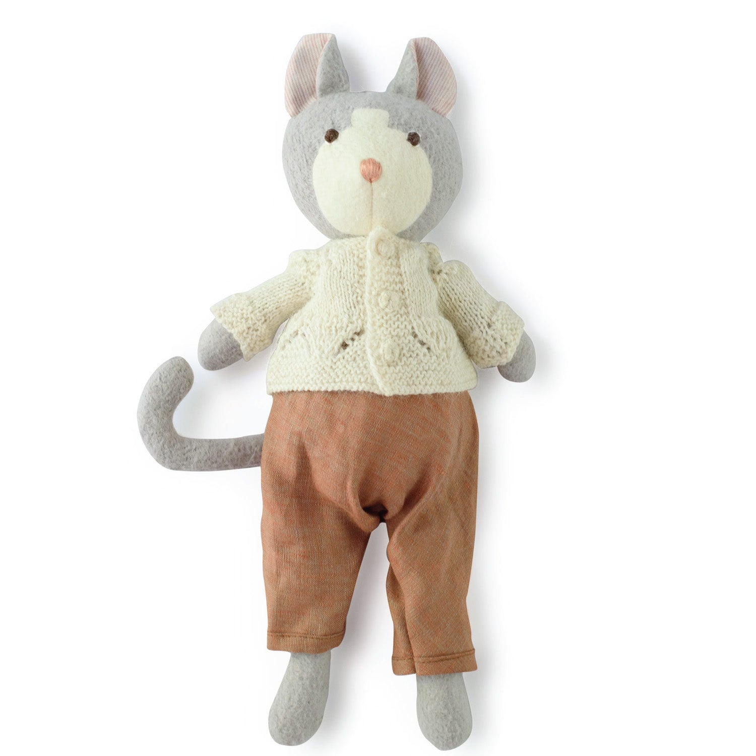 Hazel Village Organic Gracie Cat in Clay Overalls and Ivory Sweater