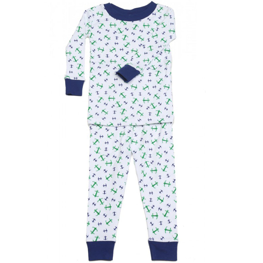 New Jammies Organic Cotton Long Sleeve Pajama Set Anchors Away Navy