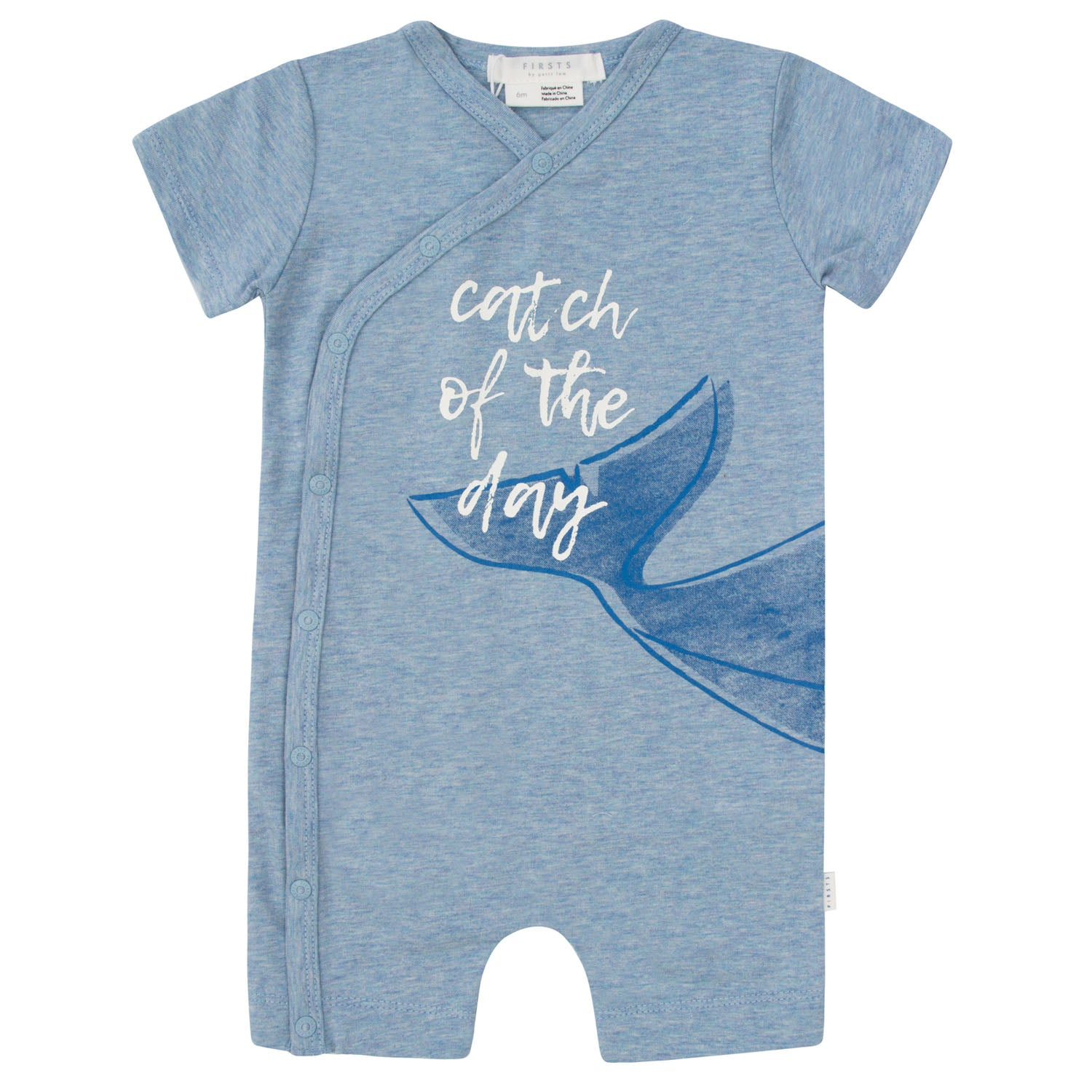 FIRSTS by Petit Lem Organic Baby Short Sleeve Playsuit Catch of the Day Blue