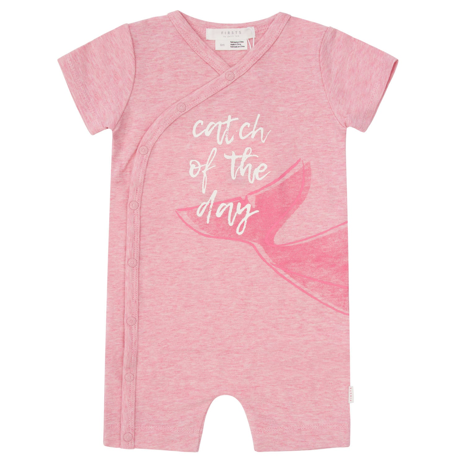 FIRSTS by Petit Lem Organic Baby Short Sleeve Playsuit Catch of the Day Pink