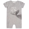 FIRSTS by Petit Lem Organic Baby Short Sleeve Playsuit - Catch of the Day Gray