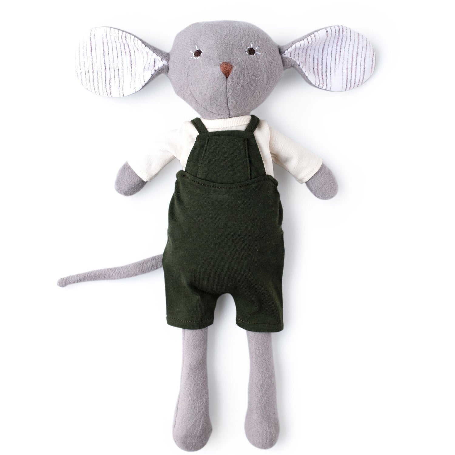 Hazel Village Organic Oliver Mouse in Natural Shirt and Overalls