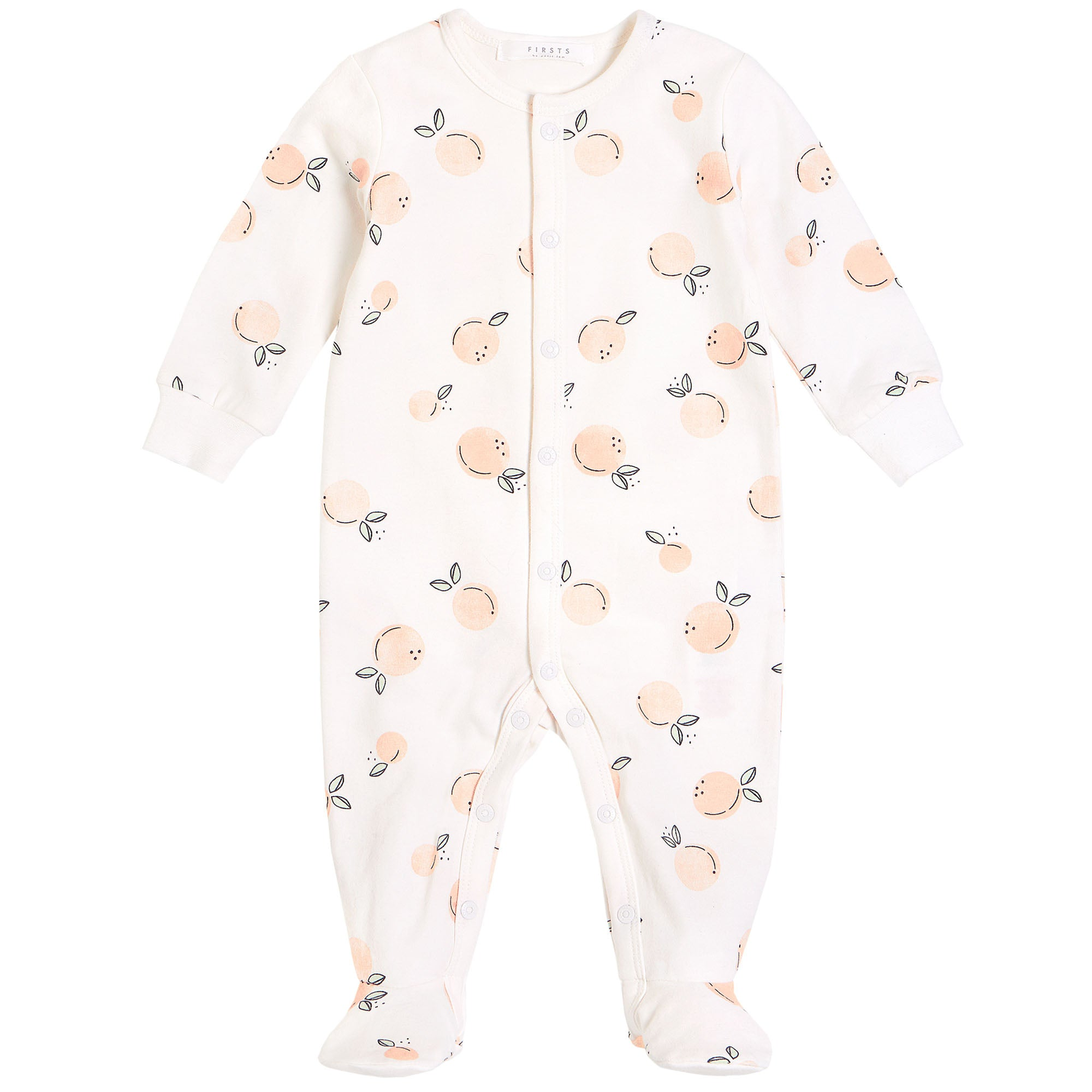 FIRSTS by Petit Lem Organic Baby Footed Sleeper Peaches