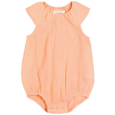 FIRSTS by Petit Lem Organic Muslin Bubble Romper - Nectar