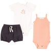 FIRSTS by Petit Lem Organic Baby Summer Outfit Set (3-Piece) - Peaches