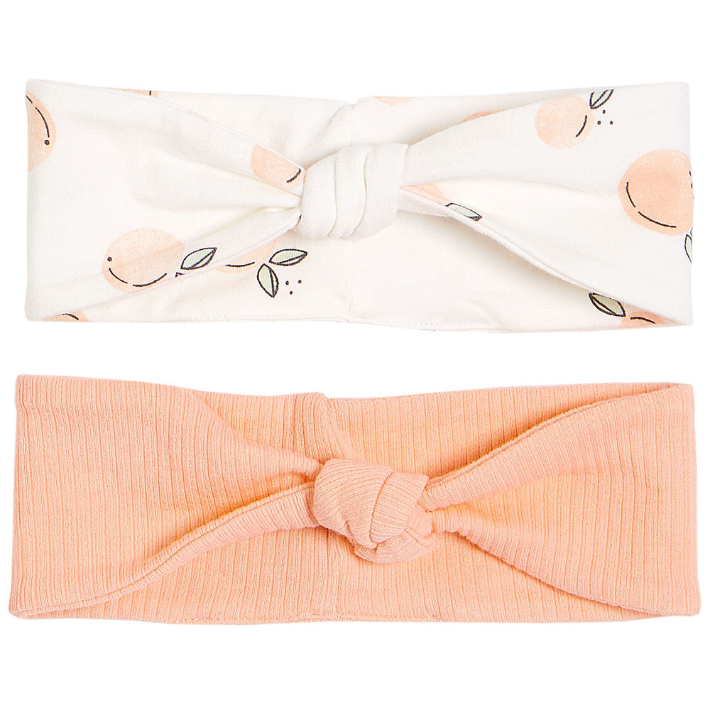 FIRSTS by Petit Lem Organic Baby Headbands (set of 2) - Peaches