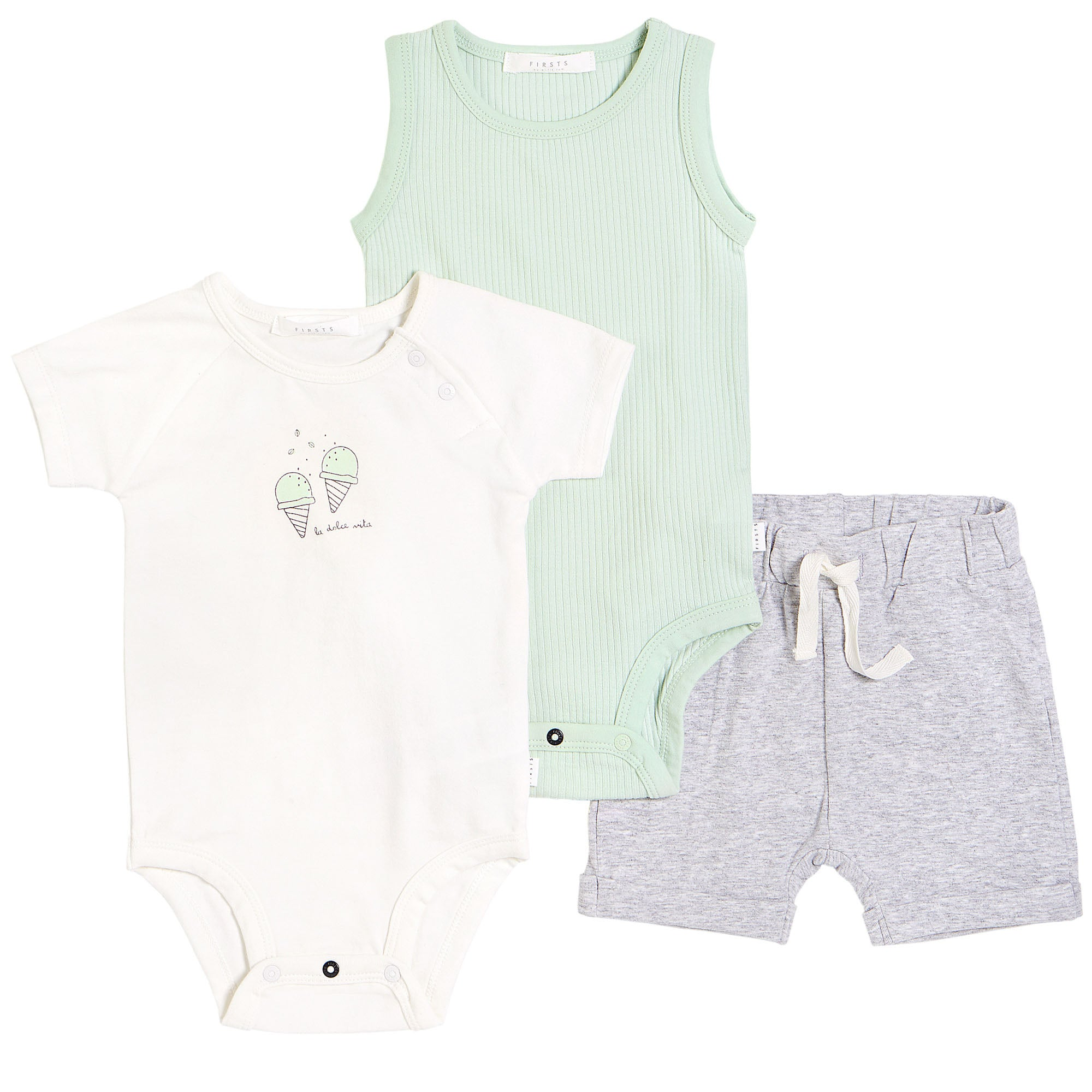 FIRSTS by Petit Lem Organic Baby Summer Outfit Set (3-Piece) - Gelato