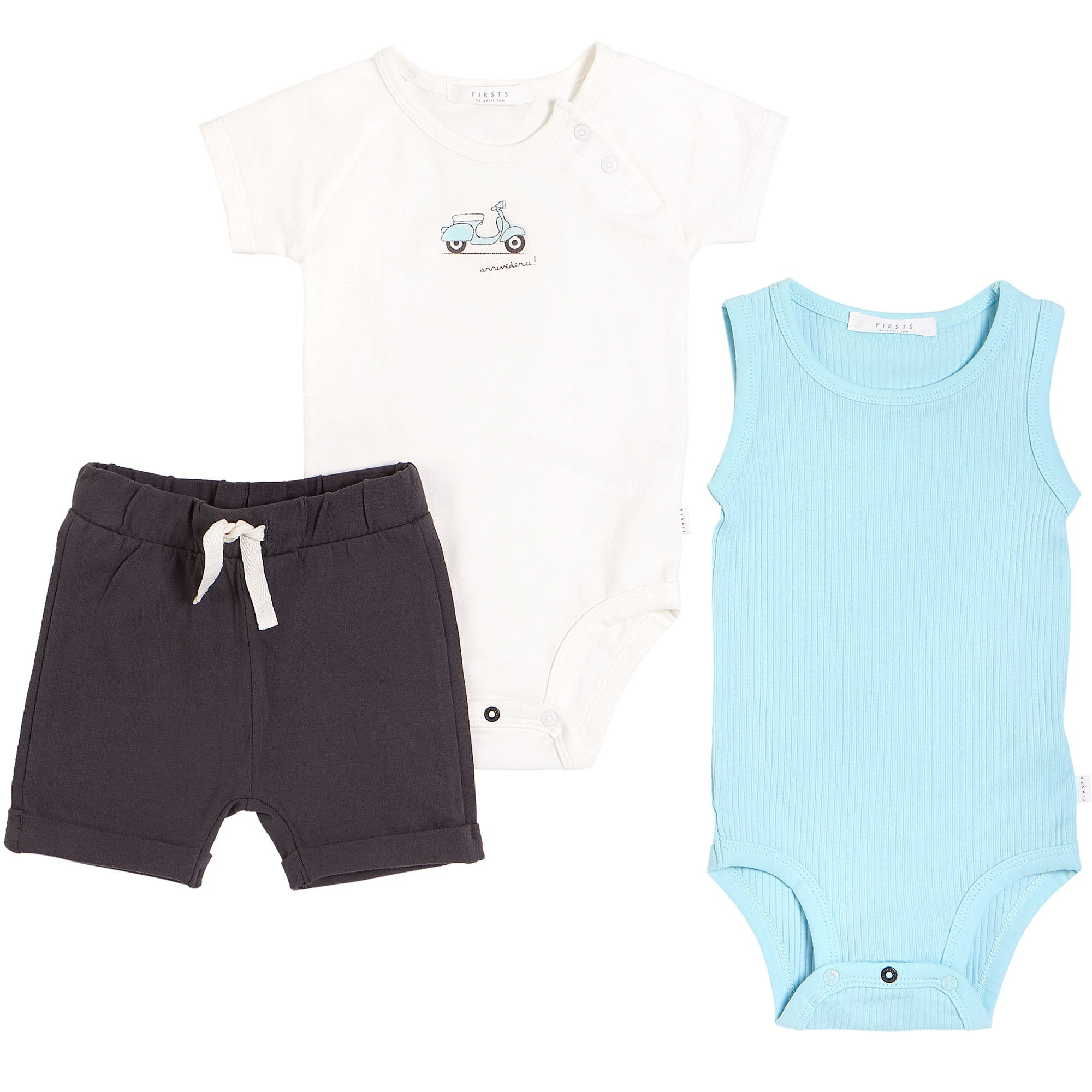 FIRSTS by Petit Lem Organic Baby Summer Outfit Set (3-Piece) - Motorino