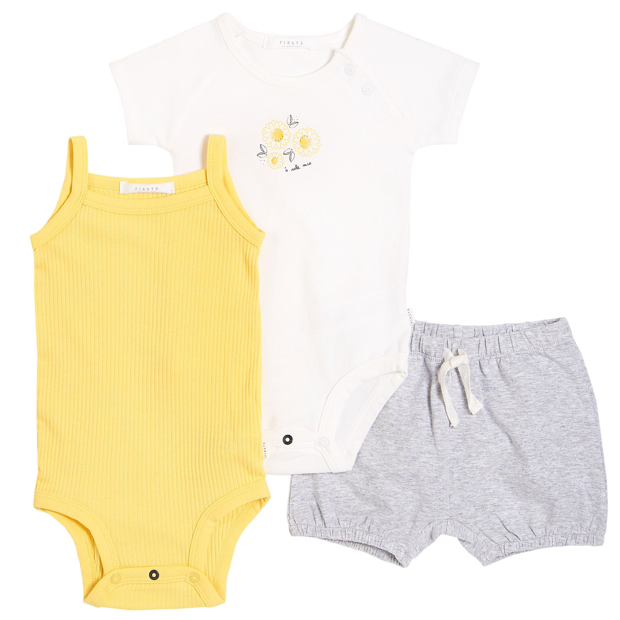 FIRSTS by Petit Lem Organic Baby Summer Outfit Set (3-Piece) - Sunflowers