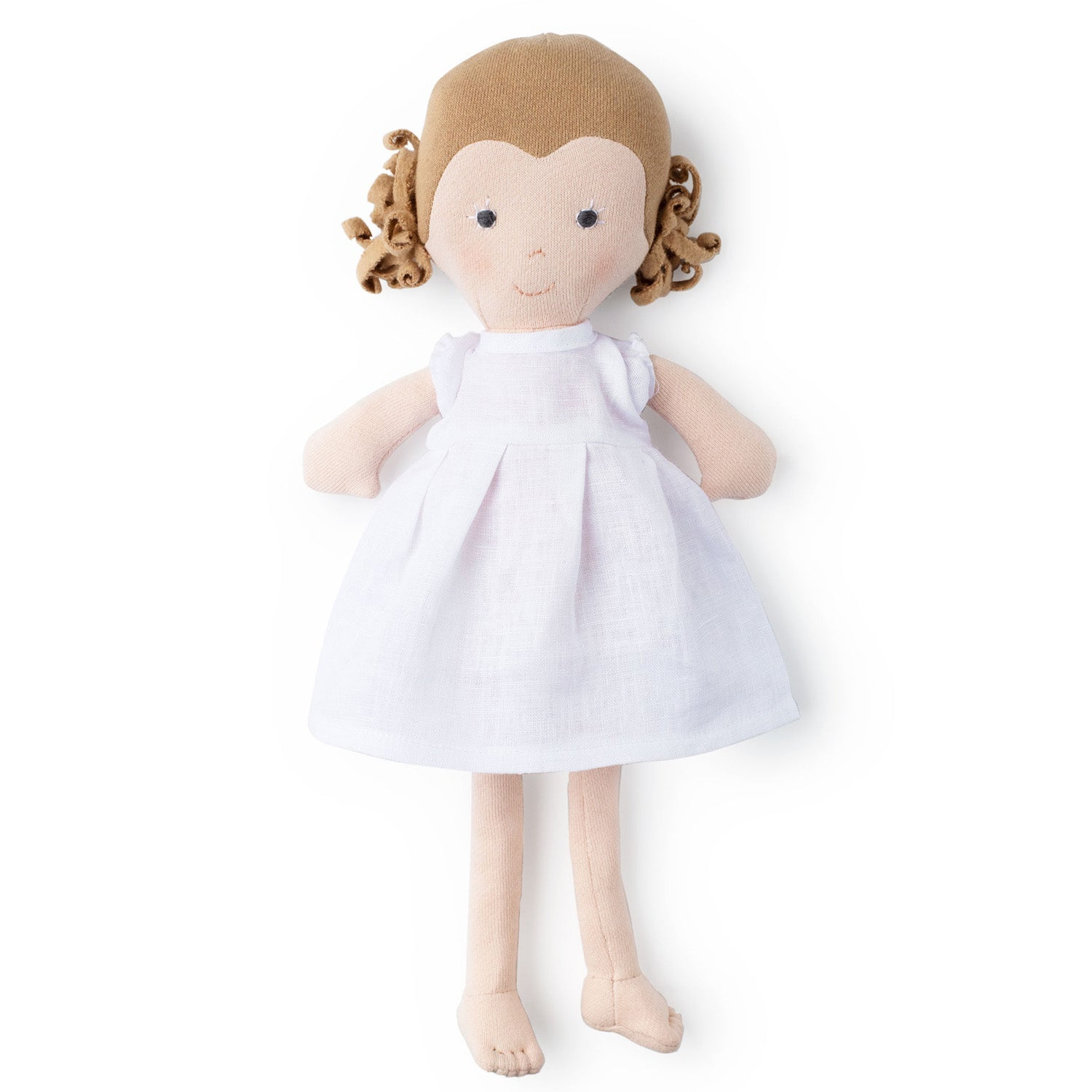 Hazel Village Organic Fern Doll in Snowy White Linen Dress