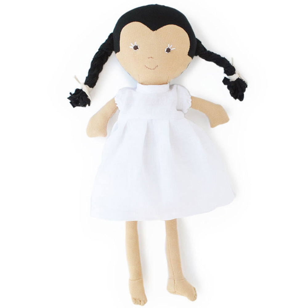 Hazel Village Organic Celia Doll in Snowy White Linen Dress